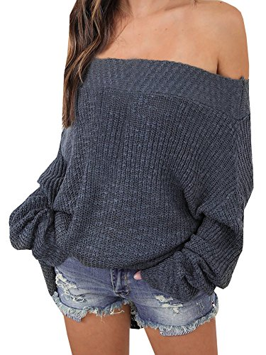 Annystore Women's Casual Long Sleeve Knitted Loose Oversized Off Shoulder Pullover Sweater Grey L