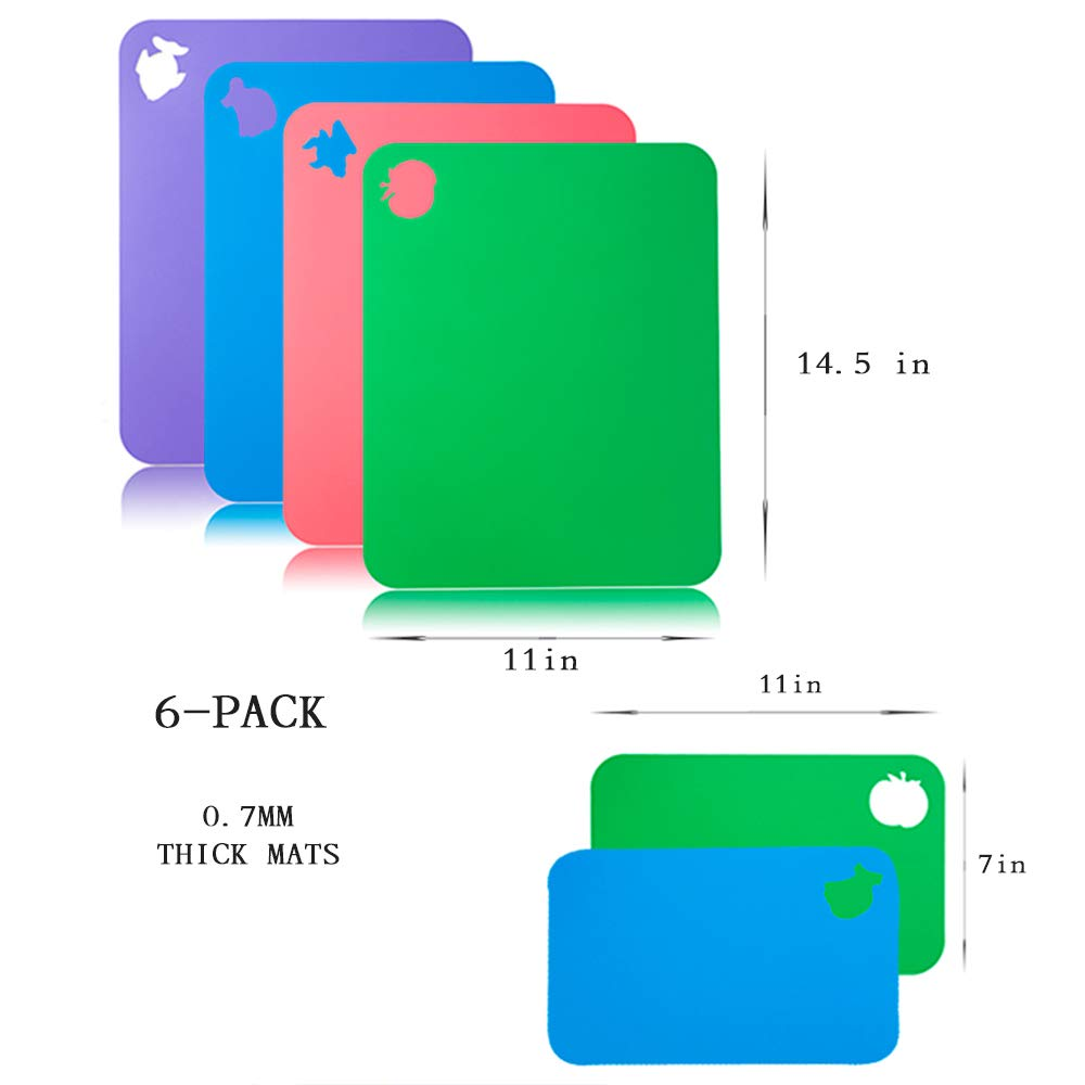 Flexible Cutting Board for Kitchen 14.5X11 Thick 0.7mm Set of 6 Flexible Cutting Board Mats With Food Icons Assorted Colors Flexible Plastic Cutting Board
