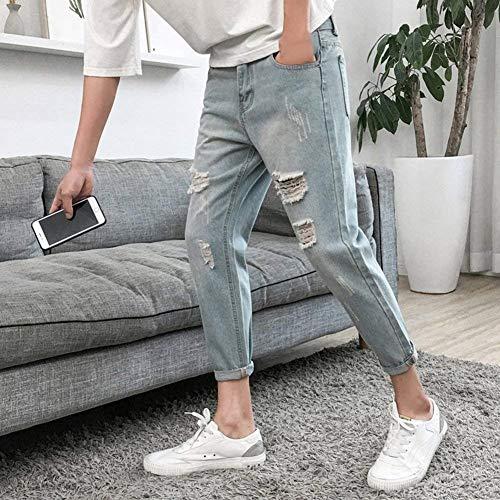 Stretch Vita Azzurro Jeans Lavati Skinny Da Fit T Super A Uomo Denim Pantaloni Regular Alta In qwrv1BwIf