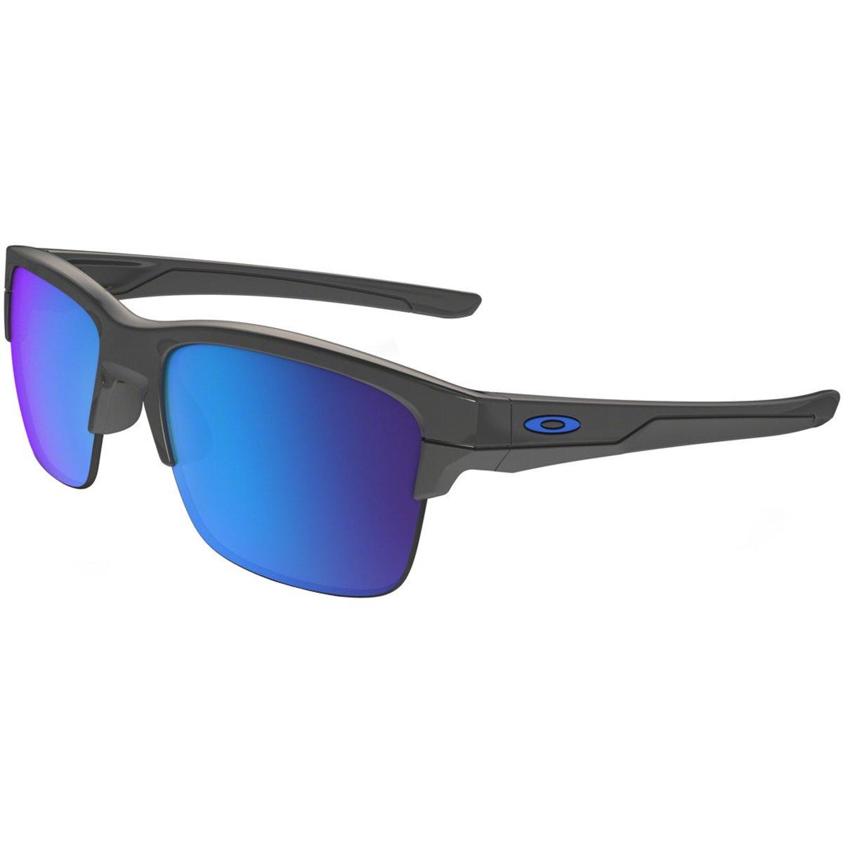 Oakley Men's OO9316 Thinlink Rectangular Sunglasses, Dark Grey/Sapphire Iridium, 63 mm by Oakley