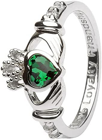 MAY Birth Month Sterling Silver Claddagh Rings LS-SL90-5. Made in Ireland.