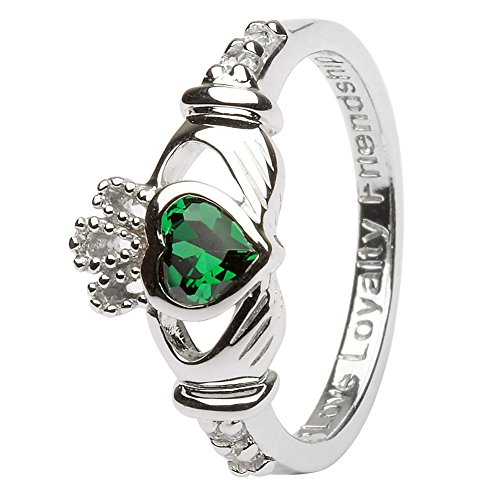MAY Birth Month Silver Claddagh Rings LS-SL90-5 - Size: 6.5 Made in - Rings Claddagh Ladies Ring