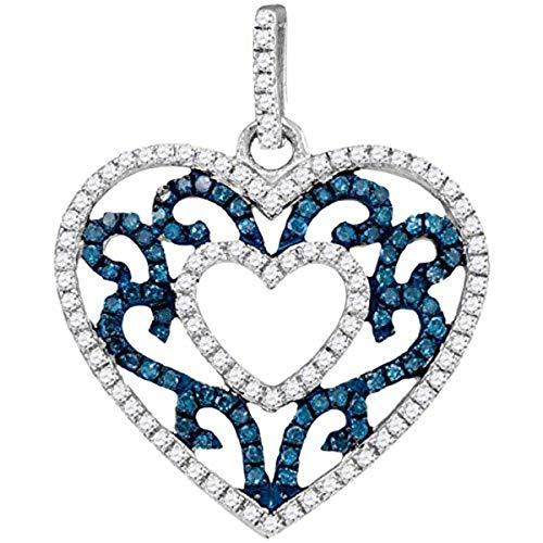 Womens Round Blue Color Enhanced Diamond Antique-style Heart Pendant 1/2-Carat tw, in 10K White Gold from Roy Rose Jewelry
