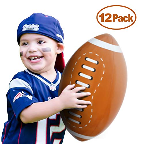Novelty Place Giant Inflatable Football Set, Beach Balls 16 Inches for Kids (Pack of 12)]()