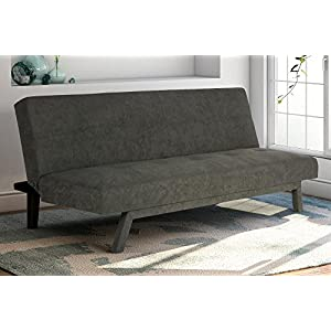 Premium Austin Convertible Sofa Sleeper Futon, Rich Gray Microfiber Couch Bed w/ Upholstered Front Legs, Perfect Small Space Solution, Modern Design, Sturdy 600 lbs. Weight Limit