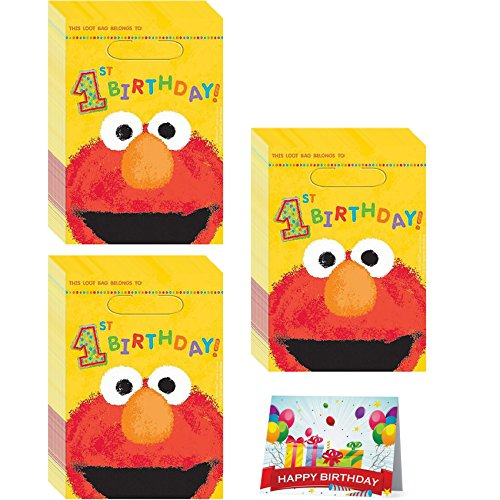 Elmo 1st Birthday Favor Treat Bags Bundle Pack of 24 ()