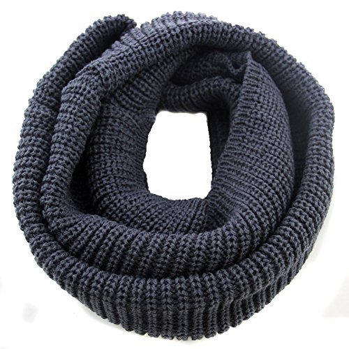 [Nsstar 2014 Fashion Unisex Women Men Boys Warmer Winter Thick Knit Wool Soft Infinity Scarf Neck Long Scarf Cowl Hood Shawl (Dark Gray)] (Plaid Cowl Neck)