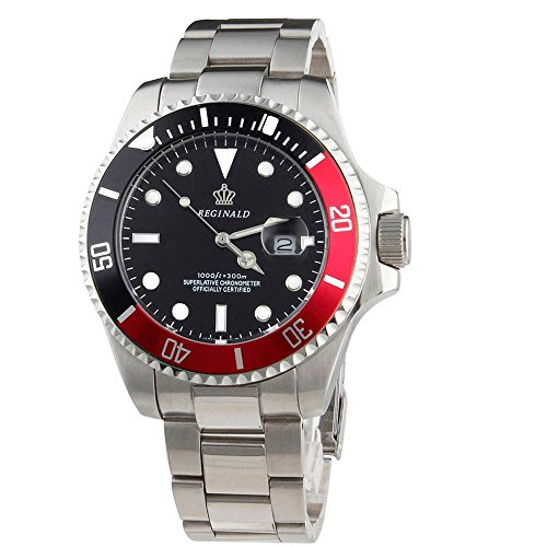 d Sports Watch Green Dial Rotatable Bezel Luminous Quartz Military Mens Watches Stainless Steel Watches (Black-red Bezel Black Face) ()