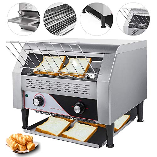 VEVOR 2600W Commercial Conveyor Toaster 450pcs per Hour Stainless Steel 110V 60HZ for Restaurant Breakfast, Sliver (60 Hz Belt)