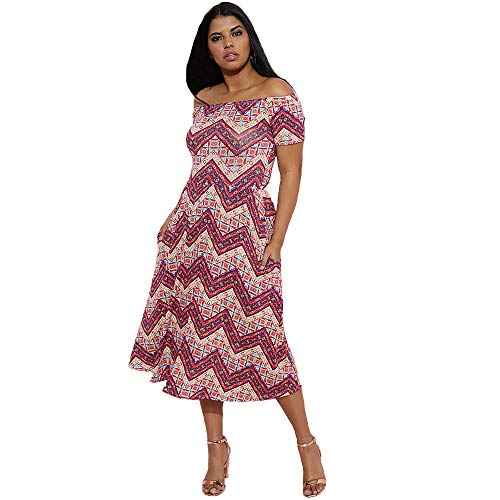 - Rebdolls Over The Shoulder Midi Dress - Zig Zag Print - Skater Style - Short Sleeve (Burgundy, 4X)