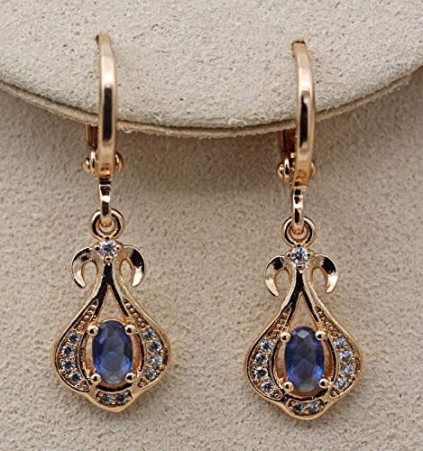(1 Pair 18K Gold Filled - Sapphire Vase Oval Hollow Waterdrop Topaz Prom Women Earrings )