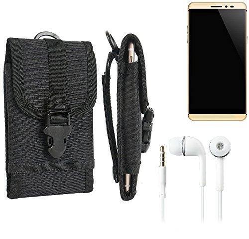 bolsa del cinturón / funda para coolpad Max, negro + Auriculares | caja del teléfono cubierta protectora bolso - K-S-Trade (TM)