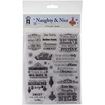 Hot Off The Press Acrylic Stamps Sheet, Naughty and Nice, 6 by 8-Inch