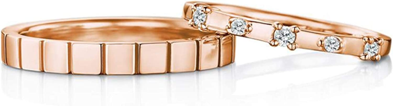 AnazoZ Anillo Parejas Compromiso 18k Oro Rosa Cuadrado Mosaico Diamante Blanco 0.18ct Talla Mujer 18,5 & Hombre 18,5