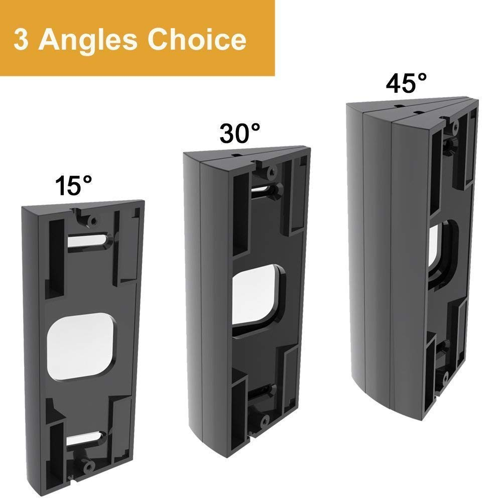 CAVN Compatible Ring Video Doorbell Pro Angle Mount (Can Create 15/30 / 45 Degree), Replacement Adjustment Mounting Plate Bracket Wedge Corner Kit with Screwdriver and Screws (Style 2/Black)