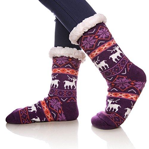 - SDBING Women's Warm Cozy Fuzzy Fleece-lined Knee Highs Winter Christmas gift Slipper socks (Purple)