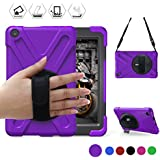 All-New Fire HD 8(2017/2018 Released, 8th/7th Generation Only) BRAECN Three Layer Armor Defender Full Body Protective Case Cover/Hand Strap/Shoulder Strap for Amazon Kindle Fire HD8 (Purple)
