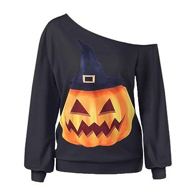 Women Halloween Long Sleeve Sweatshirt Pullover Pumpkin Hat Print