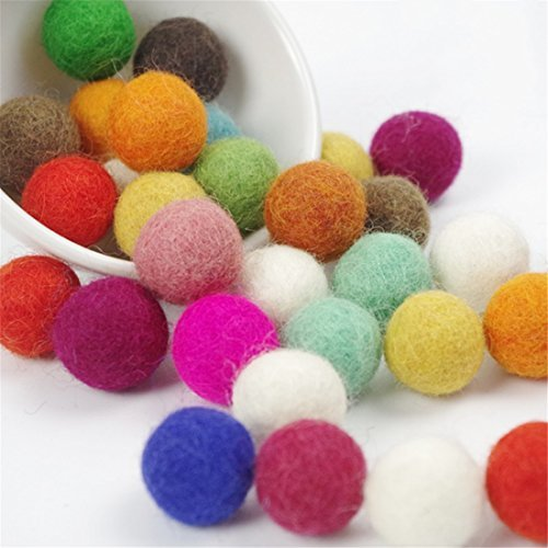 50pc 20mm Diy Christmas Decor Wool Felt Balls Mixed Colour Wool Pom Gumball Beads Craft Decoration