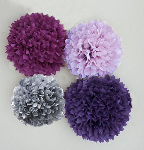 Amazon Purple Lilac Plum And Silvergrey Tissue Paper Pom