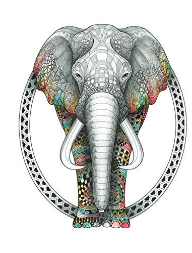 TangleEasy Lined Journal Elephant (Quiet Fox Designs) Hyper-Detailed, Exquisitely Rendered Animal Illustrations by Ben Kwok (BioWorkZ); Lined Pages with Plenty of Writing Space to Document Your World