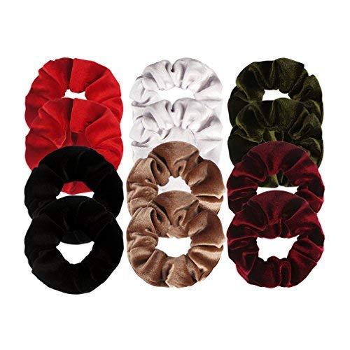 ANBALA Velvet Hair Scrunchies, 12 Pack Soft Velvet Scrunchy Bobbles Elastic Hair Bands Ties Donut Hair Accessories for Women