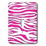 3dRose LLC lsp_113189_1 Hot Pink and White Zebra Print Stylish Girly Animal Stripe Pattern Modern Trendy Fashionable Girl Single Toggle Switch