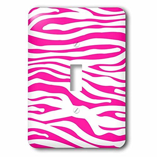 3dRose LLC lsp_113189_1 Hot Pink and White Zebra Print Stylish Girly Animal Stripe Pattern Modern Trendy Fashionable Girl Single Toggle Switch by 3dRose