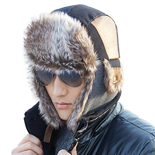 58dee4968 SIGGI Faux Fur Trapper Hat for Men Cotton Warm Russian Hunting ...
