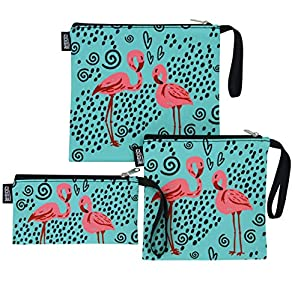 QOGiR Reusable Snack Bags and Sandwich Bags with Handle: Lead-Free,BPA-Free,PVC-Free,FDA Passed (Flamingo)