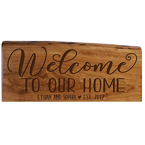 Personalized Family Gift Custom Welcome Solid Cherry Wood Wall Plaque With Engraved Family Name and Established Year Gift Ideas By Dayspring Milestones (Welcome to Our Home)