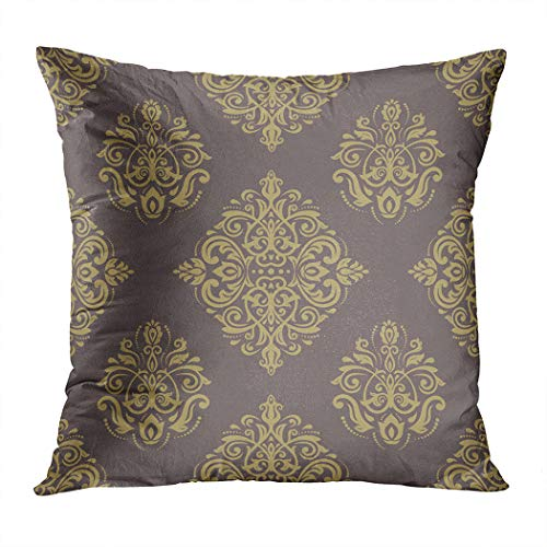 Wesbin Throw Pillow Cover Damask Seamless Pattern Fine Traditional Ornament New Living Hidden Zipper Home Sofa Decorative Cushion 18x18 Inch Square Design Print