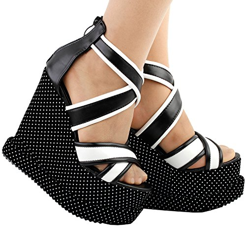 tiras sandalias plataforma blancos Mostrar LF38825 de historia entrecruzamiento topos a y Blanco mujer cuña negro negro wxqaf04z