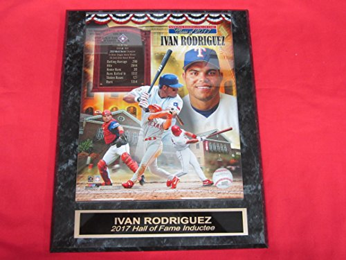 Rangers Ivan Rodriguez Collector Plaque w/8x10 2017 Hall of Fame - Clubhouse Rangers