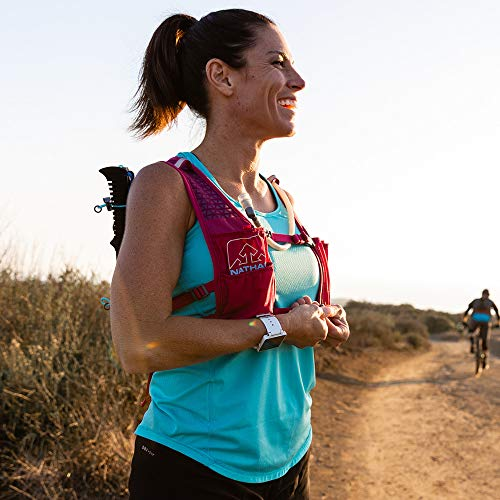 Nathan TrailMix Running Vest/Hydration Pack. 7L (7 Liters) for Men and Women | 2L Bladder Included (2 liters). Zipper, Phone Holder, Water (Sangria/Magenta Purple/Sky Blue, One Size Fits Most) by Nathan (Image #9)