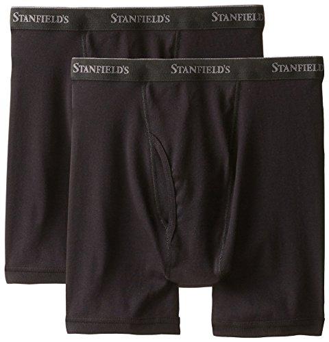 2 Pack Rib Boxer - Stanfield's Cotton Boxer Brief (Pack 2), Black, Medium