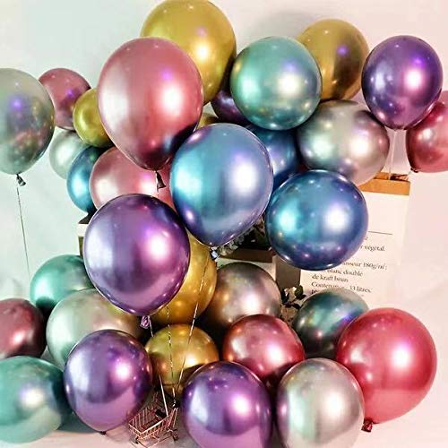 Vilosa Metalic Colorful Ballons for Party and Festival Decorations 50pcs-Pack