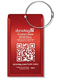 Dynotag® Web/GPS Enabled QR Smart Aluminum Convertible Luggage Tag w. Steel Loop in Six Colors (Red )
