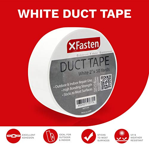 XFasten Duct Tape White, 2 Inches x 50 Yards, Yellowing Resistant and Conformable by XFasten (Image #1)