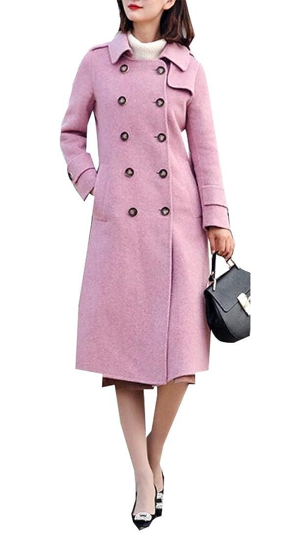 2 Sanderso Women's Vintage Double Breasted Thicken Wool Blend Long Pea Coat Overcoat