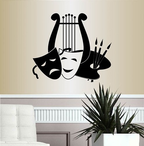 Wall Vinyl Decal Home Decor Art Sticker Lyra Palette Masks Symbols of Music Arts Theater Room Removable Stylish Mural Unique Design