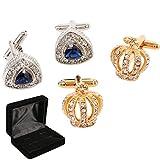 kilofly 2 Pairs Men's Silver Rhinestones Gold Crown Cufflinks + Velvet Gift Box