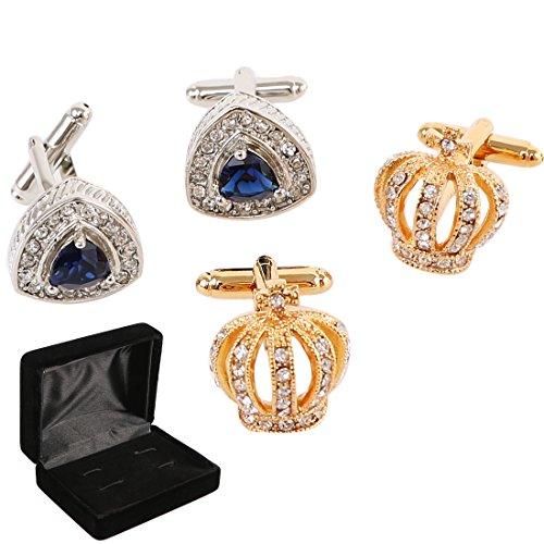 kilofly 2 Pairs Men's Silver Rhinestones Gold Crown Cufflinks + Velvet Gift - Sapphire Cufflinks