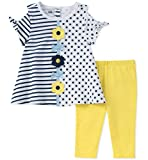 Kids Headquarters Toddler Girls' Tunic Set-Capsleeves, White/Blue/Yellow, 2T
