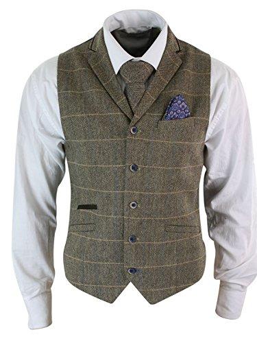 Tweed A Nocciola Scacchi In Uomo Da Cavani Elegante Classico Gilet Vintage ZP8nqX