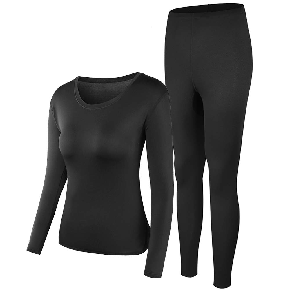 Thermal Underwear Women Ultra-Soft Long Johns Set Base Layer Skiing Winter Warm Top & Bottom Black by PISIQI