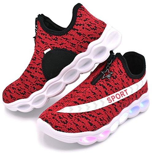 ECOTISH Kleinkind Wasserdicht USB Aufladen LED Leuchtend Sport Schuhe Sportschuhe Sneaker Turnschuhe für Unisex-Kinder Junge Mädchen (37EU, Rot)