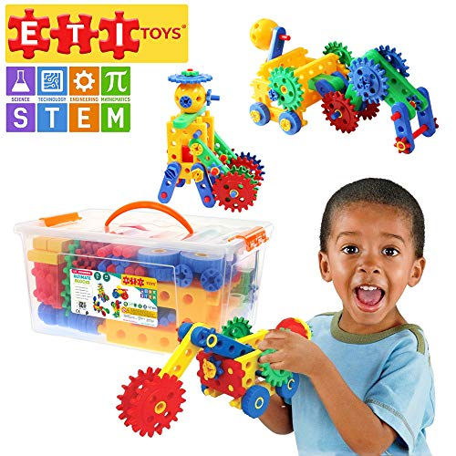 ETI Toys, STEM Learning, 74 Piece Educational Engineering Construction Blocks & Gears Building Set. Build Windmill, Airplane, Car, Crane & More. Gift, Toy for 4, 5, 6, 7 Year Old Boys and Girls ()