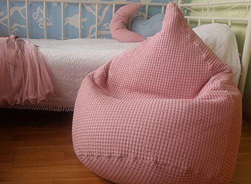 Softened Natural Linen Waffle Textured Bean Bag Chair Cover Kids Beanbag Pale rose Pastel Color Nursery pink Decor Girls room Baby shower gift