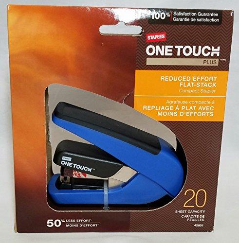 Flat Stack Stapler - Staples One-Touch Plus Desktop Flat Stack Compact Stapler, 20 Sheet Capacity, Blue